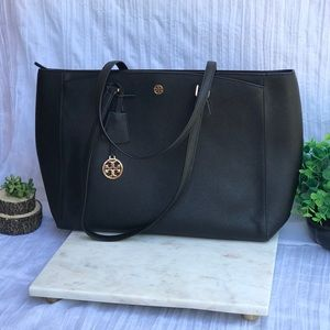 Tory Burch🔴saffiano Leather Large tote black